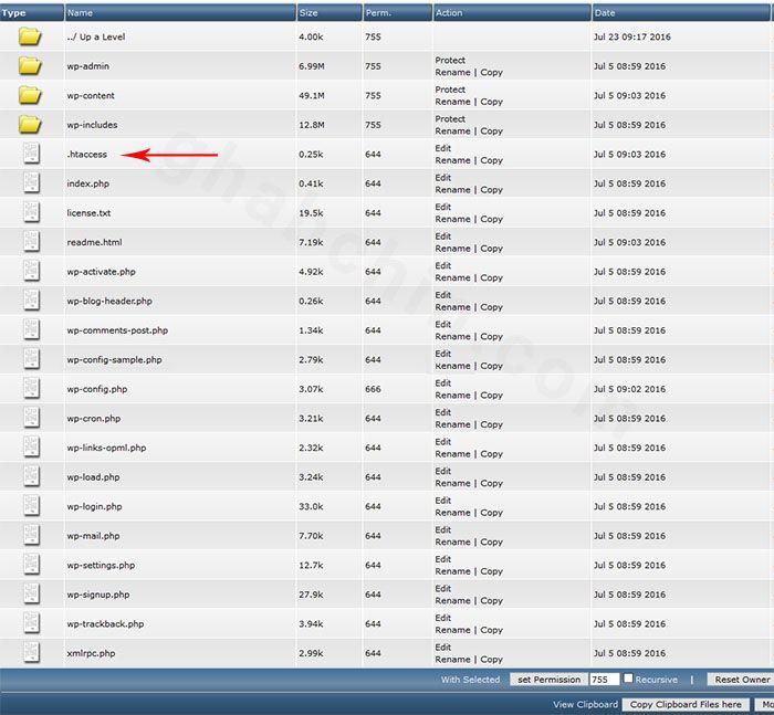 فایل htaccess در دایرکت ادمین